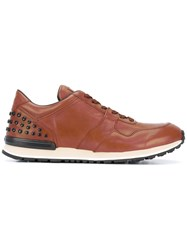Tod's Studded Detail Sneakers Men Leather Rubber 6.5 Brown