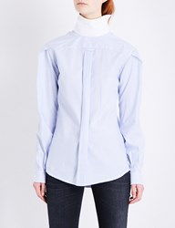 R 13 Backward Striped Cotton Shirt Blue Stripe