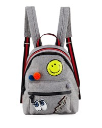 Hannah Banana Girls' Felt Backpack W Assorted Patches Gray