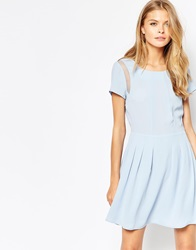 Neon Rose Fit And Flare Dress With Sheer Inserts Na