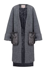 Jolie Moi Faux Fur Pockets Quilted Inner Coat Grey