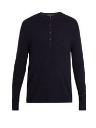 Rag And Bone Giles Ribbed Knit Wool Henley Top Navy