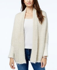 Jessica Simpson Elizabella Shawl Collar Open Front Cardigan Antique White