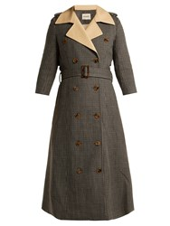Khaite Charlotte Houndstooth Wool Trench Coat Brown Multi