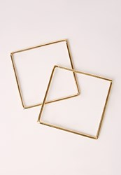 Missguided Two Pack Square Bangle Set Gold