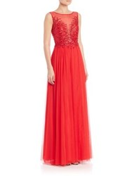 Basix Black Label Sequined Illusion Front Gown Red