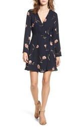 Lush Women's Elly Wrap Dress Navy Floral