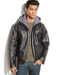 Vince Camuto Hooded Faux Leather Bomber Jacket