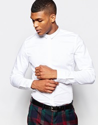 Vito Shirt With Micro Collar In Slim Fit White