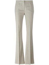 Max Mara Flared Houndstooth Trousers Nude Neutrals
