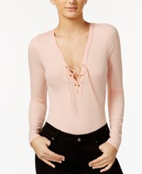 Material Girl Lace Up Rib Knit Bodysuit Only At Macy's Pale Blush