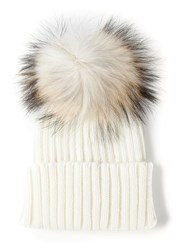 Meteo By Yves Salomon Fur Bobble Beanie White