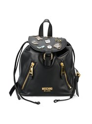Moschino Badge Applique Backpack Women Leather One Size Black