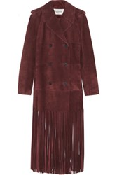 Valentino Fringed Suede Trench Coat Burgundy