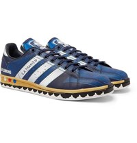 Raf Simons Adidas Originals L.A. Trainer Stan Smith Printed Leather Sneakers Blue