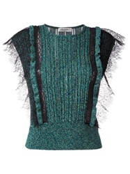 Valentino Lace Panel Knitted Top Green