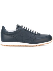 Armani Jeans Logo Stitch Trainers Men Leather Polyester Rubber 9.5 Blue