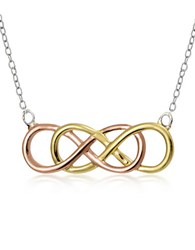 Lord And Taylor Two Tone Sterling Silver Infinity Pendant Necklace Tri Tone