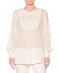 Agnona Long Sleeve Blouse W Lace Embroidered Bib Ivory