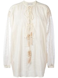 Veronique Branquinho Embroidered Shirt Nude Neutrals