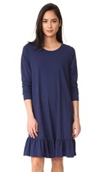 Sundry Drop Waist Ruffle Dress Navy