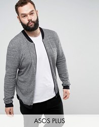 Asos Plus Knitted Cotton Bomber With Contrast Trims In Grey Twist Black And White Twist