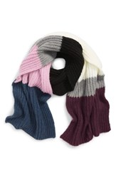 Trouve Colorblock Chunky Knit Scarf Grey Combo