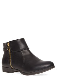 Evans Extra Wide Fit Foldover Zip Ankle Boot Black