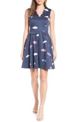 Draper James Women's Stretch Cotton Fit And Flare Dress Nassau Navy