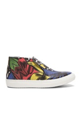 Pierre Hardy Coated Canvas Lily Cube Sneakers In Blue Red Yellow Floral