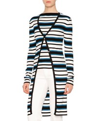 Dolce And Gabbana Long Sleeve Striped Cardigan Blue White Black Blue White Black