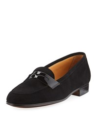 Gravati Suede Penny Loafer Black