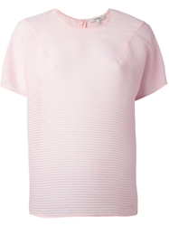 Carven Sheer Short Sleeve Blouse Pink And Purple
