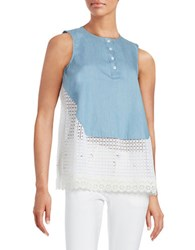 French Connection Eyelet Bottom Sleeveless Top Blue