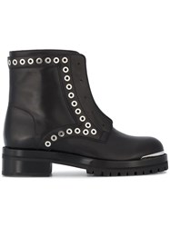 Alexander Mcqueen Zip Front Boots With Eyelet Studs Leather Metal Other Rubber Black