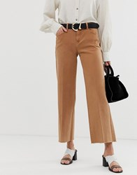 Mango Cropped Wideleg Jean In Rust Red