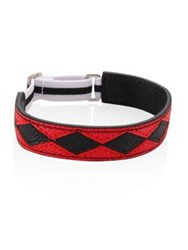 Prada Patterned Leather Bracelet Red