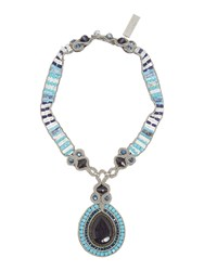 Max Mara Weekend Valico Statement Stone Necklace Blue