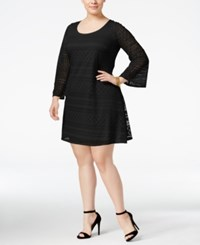 Love Squared Plus Size Bell Sleeve Lace Peasant Dress Black
