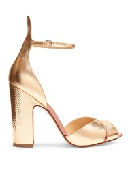 Francesco Russo Block Heel Snakeskin Effect Leather Sandals Rose Gold
