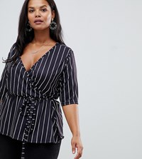 Pink Clove Wrap Blouse With Fluted Sleeves In Stripe Navy
