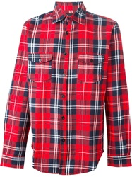 Les Artists Les Art Ists Back Print Tartan Shirt Red