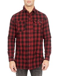 Cult Of Individuality Soho Cotton Button Down Shirt Red