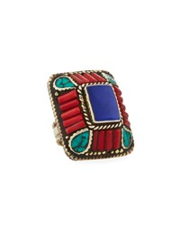 Devon Leigh Lapis Coral And Turquoise Rectangle Ring