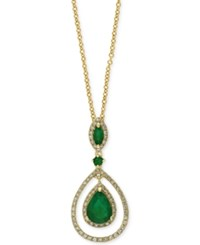 Effy Collection Brasilica By Effy Emerald 1 1 6 Ct. T.W. And Diamond 1 4 Ct. T.W. Teardrop Pendant Necklace In 14K Gold Green