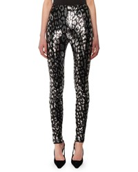 Tom Ford Leopard Print Liquid Sequin Leggings Black Silver
