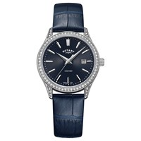 Rotary Women's Oxford Date Leather Strap Watch Navy