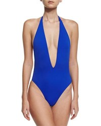 Milly Gaeta Italian Solid Plunging One Piece Swimsuit Cobalt