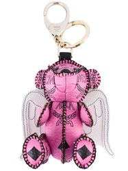 Mcm Winged Bear Keyring Pink And Purple