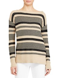Lauren Ralph Lauren Linen Cotton Drop Shoulder Top Tan Black